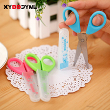1Pcs Cute Tool DIY Student Scissors Paper Cutting Art Office School Supplies with Cap Kids Stationery
