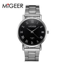 MIGEER Relogio Masculino Luxury Business Wrist Watches Men Top Brand Roman Numerals Stainless Steel Quartz Watch Mens Clock #Zer(China)