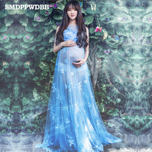 SMDPPWDBB Voile Transperant Blue Maternity Long lace Dresses Pregnant Photography Props Fancy Pregnancy Beach Flower Blue Dress
