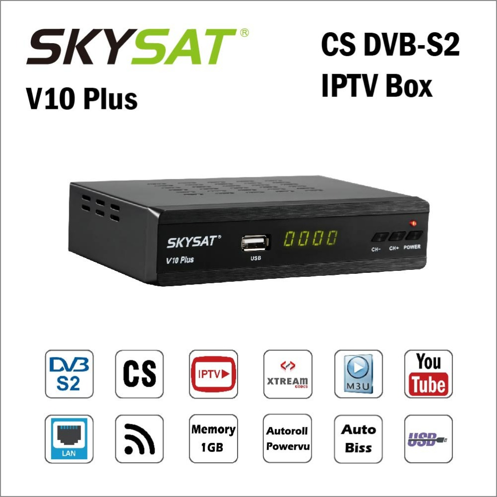 SKYSAT Receptor-Support Youtube Wifi Iptv M3u V10-Plus DVB-S2 Cccamd Xtream Powervu Biss title=