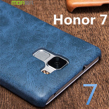 huawei honor 7 case MOFi original leather case huawei honor 7 accessories PLK-TL01H back cover skin business pure brown 5.2 inch