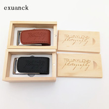 Customized 4gb 8GB 16gb 32gb Firm Logo Leather USB Flashdrive And Wooden Box Personal Artphoto  (over 30pcs free logo )