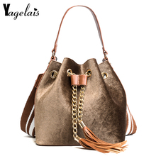 Corduroy Women Buckets Bags Tassels Single Strap Shoulder Handbags Chain String Crossbody Bags Womens Casual Shopping Totes(China)
