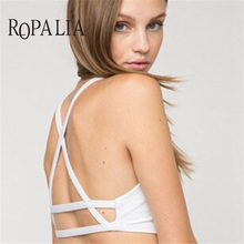Buy ROPALIA Sexy Padded Bra Women Caged Back Bralette Bras Crop Tops Brassiere Female Underwear