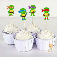 24pcs Teenage Mutant Ninja Turtles candy bar cupcake toppers picks decoration baby shower kids birthday party supplies AW-0424