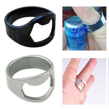 1pcs Unique Creative Versatile Stainless Steel Finger Ring Ring-Shape Beer Bottle Opener Black / Silver