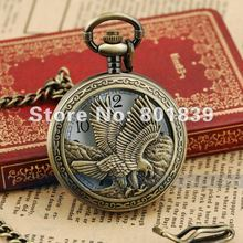Retro Bronze Tone Eagle Big Case Men's Pocket Watch With Chain Nice Gift Wholesale Price H166
