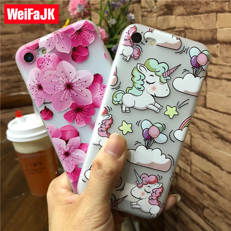 WeiFaJK Unicorn Silicone Back Cover Case iPhone 6 7 8 Plus Floral Matte TPU Soft Case iPhone 8 7 6s Plus Case Capa Coque
