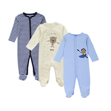 3PCs Newborn Baby Rompers Spring Autumn Long Sleeves Bear Pattern 100% Cotton Baby Boys Clothes Infant Baby Boys Girls Clothing