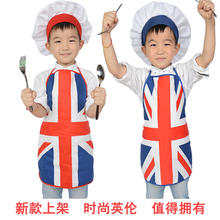 Free Shipping Brand New Kids Costume Cook Apron Costume children Painting Apron Chef Hat and Apron set British union jack
