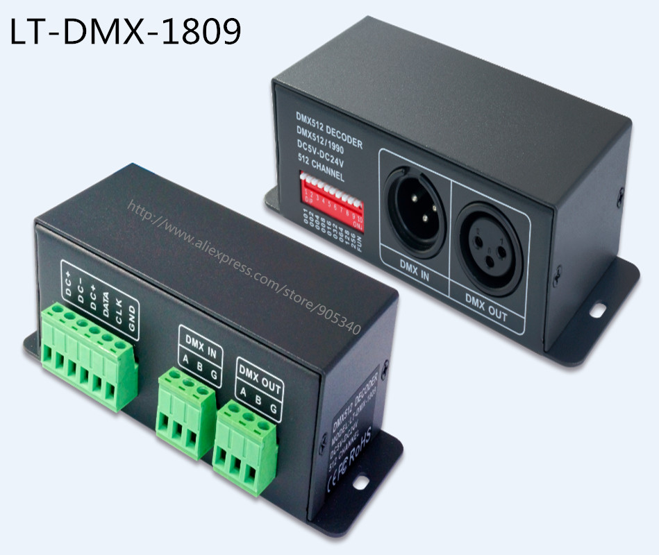 DMX SPI singnal Decoder LT-DMX-1809 support WS2811,TM1804,TM1809,TM1812 driving IC, for led dot light,pixel screen digital tube <br><br>Aliexpress