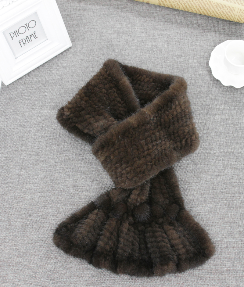 2017 New Real Mink Fur Hand Knitting Scarfs Scarves Cowl Snoods Factory outlet