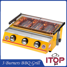 Gas BBQ Grill 3 Burners Barbecue Stove Adjustable Height Smokeless Outdoor Garden Picnic With Stainless Steel Cover
