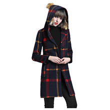 2017 Korean Women's Fashion Winter Slim Woolen Blend Plaid Hooded Coat Jacket Vintage Long Sleeve Single Breasted Trench Outwear(China)