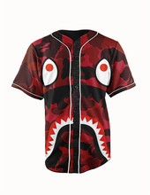 Real American Size big sharp teeth 3D Sublimation Print Custom made Button up baseball jersey plus size