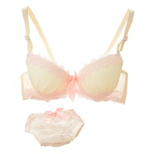 Sexy Chiffon Lace Bow Bras Women Lingerie Underwear Push Up Padded Brassiere&Panties Suit Small Chest Bra Set M34