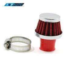 New Universal Car Round Tapered Air Filters 25MM Clamp-On Auto Cold Air Intake Mini Filters Red(China)