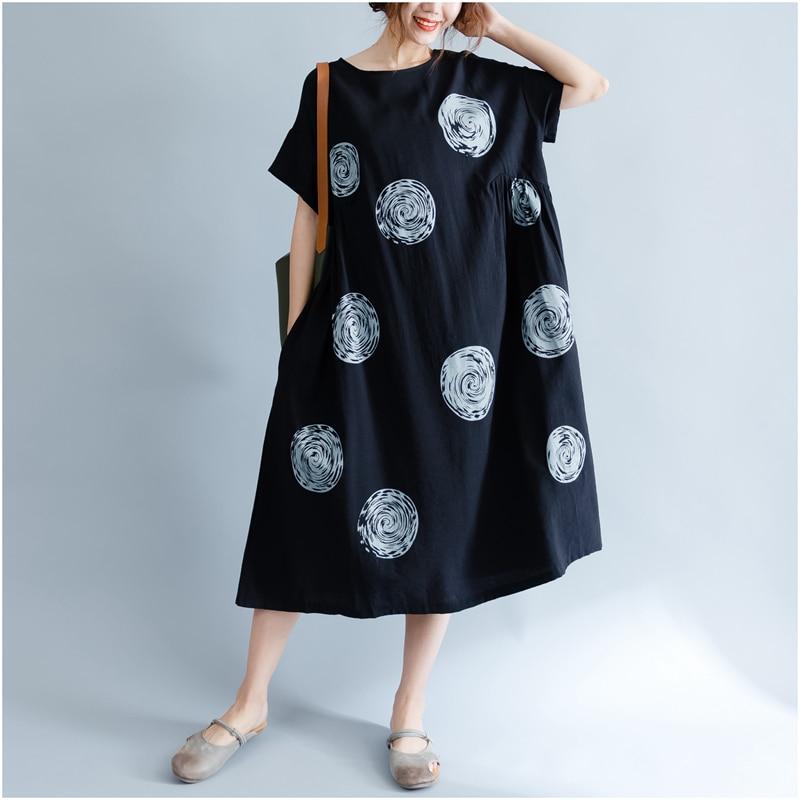 DIMANAF Women Summer Dress Big Size Cotton Linen Casual Soft Style Black Polka Dot Oversized Loose Female Sundress Clothing 2018 17