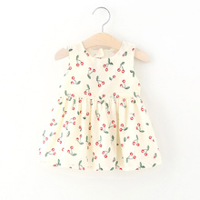 Summer Girls Dress Backless Bow Cherry Print Toddler Ball Gown Princess Dress Cotton Sleeveless Kids Vestidos Baby Girl Clothes