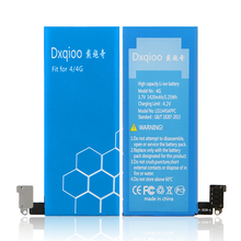 Dxqioo Brand 4 4G mobile phone battery Fit for iphone 4 4G 1420mAh Battery+Battery removal tool kit