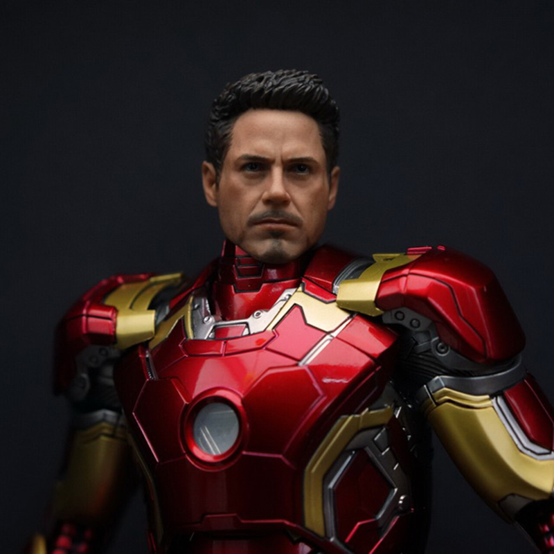 1/9 Male Head sculpt Wounded Ver 1:9 Collection Iron Man Tony Head Model Carving F KingArts MK42 MK43<br>