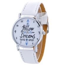 Women Lady Casual Follow Your Dreams Words Pattern Wrist Watch Leather Strap Analog Quartz Watches Shellhard Relogio Feminino