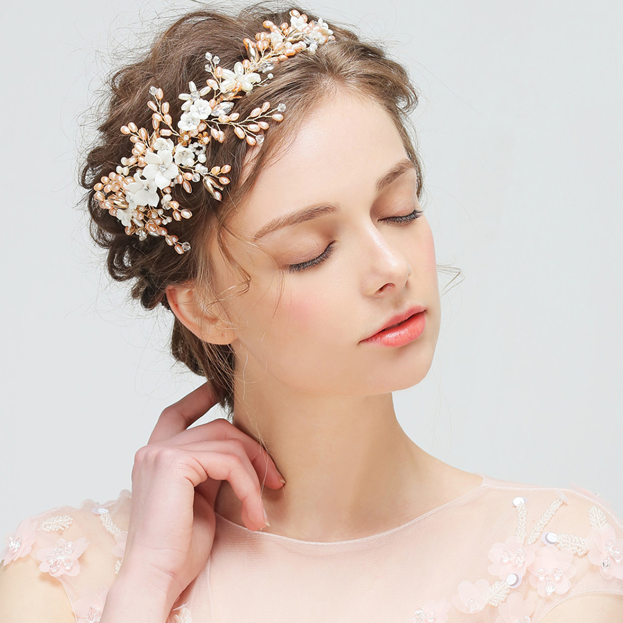 1pc/lot New Tiaras And Crowns Hair Clips With Rhinestone Flower Wedding Bridal Barrette Pear Headband For Girl Gift Hair Jewelry