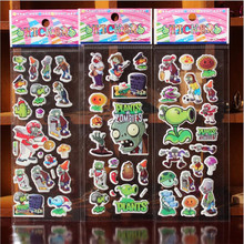 1pcs Exquisite Kids Stickers Stereo Bubble Stickers Plant Zombie Cartoon Stickers Sent at Random