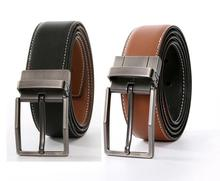 One Ply Lined Men's Dress Belt Leather Reversible Rotated Tan Buckle Belts For Men Black/Brown Sides Classic & Fashion Designs