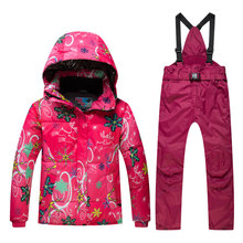 New High Quality Kids Ski Suit Children Windproof Waterproof Colorful Girls For Boy Snowboard Snow Jacket And Pants Winter Dress(China)