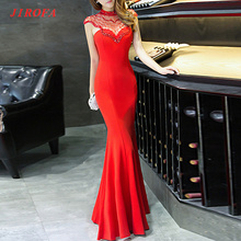 JRF0212 Summer Party Dress Long 2017 Elegant Slim Lady Trumpet Maxi Dress For Evening Party Prom Wear Vestidos Woman Plus Size(China)