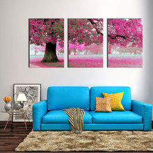 3 Picture Combination Canvas Wall Art Painting For Home Decor Purple Flowers At Tree  Artwork The Picture For Home Decoration