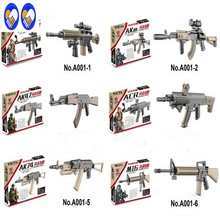 A Toy A Dream 6PCS MOC Military WW2 swat police GUN M4 AK47 M16 AK74 Building Blocks Brick Arms Weapon Pack City Police