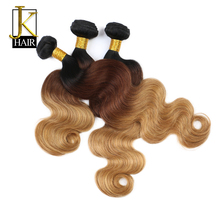 "JK Ombre Brazilian Human Hair Weave Bundles 100% Remy Hair Extension Body Wave Bundles T1B/4/27 Dark Blonde Brown Weaving 12-24""(China)"