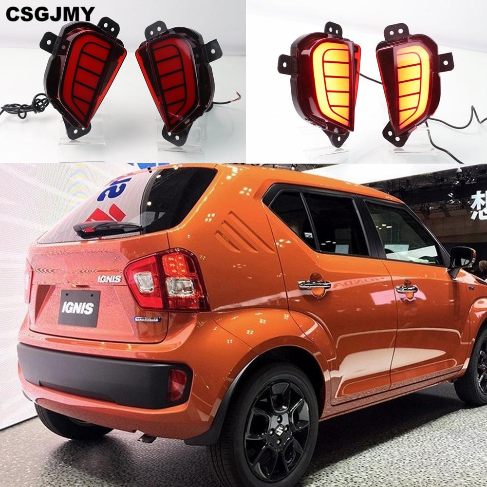 2pcs LED Rear Bumper Reflector Brake Tail Light For Suzuki IGNIS 2016-2019