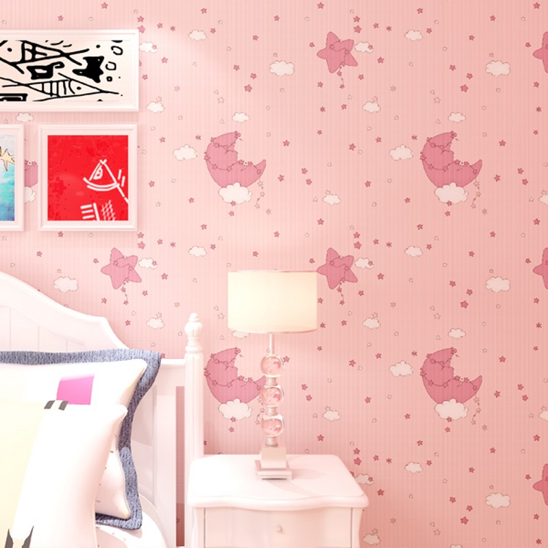 Kids Room Wallpaper Boy Girl Bedroom Eco Non Woven Cartoon Cute Star Moon Wall Paper Roll<br>
