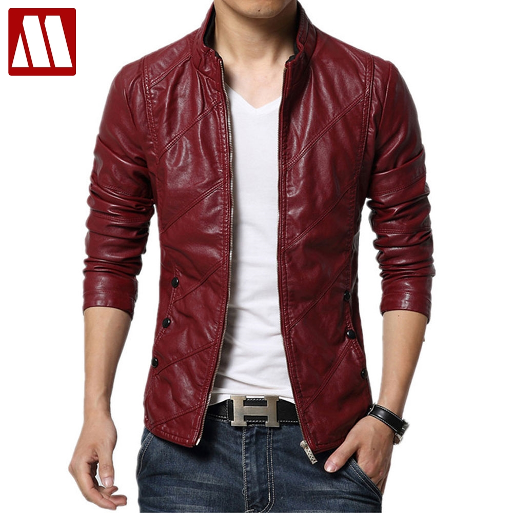 2019 brand-clothing Autumn slim fit Men's leather jacket and coat faux PU leather biker jackets male fur coats motorcycle jacket