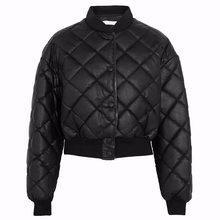 FIRSTTO Retro Stand Collar PU Leather Quilted Plaid Parka Jacket Single-breasted Zipper Faux Leather Coat Outwear Black Tops(China)