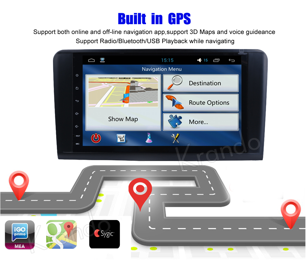 Krando Benz ML Class W164 car radio GPS navigation system (6)