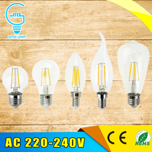 Antique Retro Vintage LED Edison Bulb E27 LED Bulb E14 Filament Light 220V Glass Bulb Lamp 2W 4W 6W 8W Candle Light Lamp