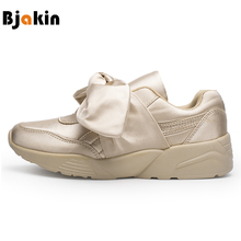 Bjakin Women's Bow Running Shoes Satin Bowknot Sports Shoes Round Toe Shoes Flats Ladies Bow Sneakers Pink Green Beige Silver