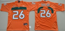 Nike Youth Miami Hurricanes Sean Taylor 26# College Ice Hockey Jerseys - Orange Size S,M,L,XL(China)