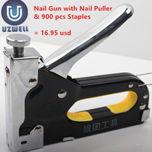 UZWELL Heavy Duty Rapid Upholstery Hand Staple Nail Tacker Stapler Gun Set Free of Nail Puller and 900 pcs nails(China)