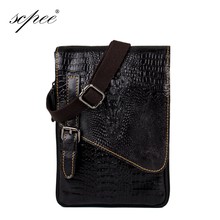 SCPEE Handbag Men crocodile pattern messenger bag cow genuine leather crocodile exquisite craft Free Shipping