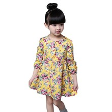 Summer Autumn Toddler Girl Clothing Girls Spring Dress Casual Long Sleeves Flower Princess Girl Dresses