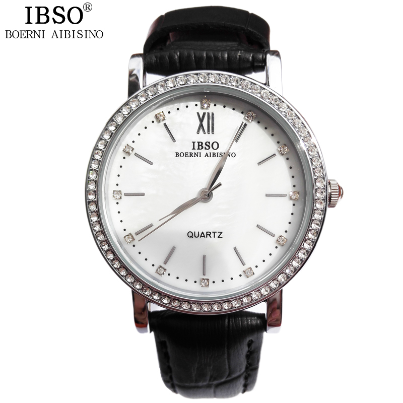 IBSO Outdoor Casual Women Watches Leather Band 2017 New Relogio Feminino Water Resistant Business Fake Diamond Womens Watches<br><br>Aliexpress