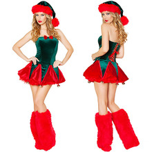 Adults Sexy Santa Claus Dress Green Christmas Tree Female Celebrate Party Show Elegant Santa Elf Costume(China)
