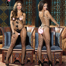 Buy new bow black open crotch fishnet bodystockings Women Sexy Lingerie Hot Mesh Hollow Baby Doll Sexy bodysuit erotic Lingerie 591
