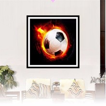 & 5D Diamond Embroidery,Partial,Fire Soccer Diamond Painting Picture,Mosaic,Round Rhinestone,Unfinish Cross Stitch,Home Decor