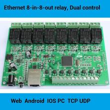 8 in 8 out network Relay controller module, dual local / remote control, WEB server Android iphone, Peer to Peer, Modbus TCP